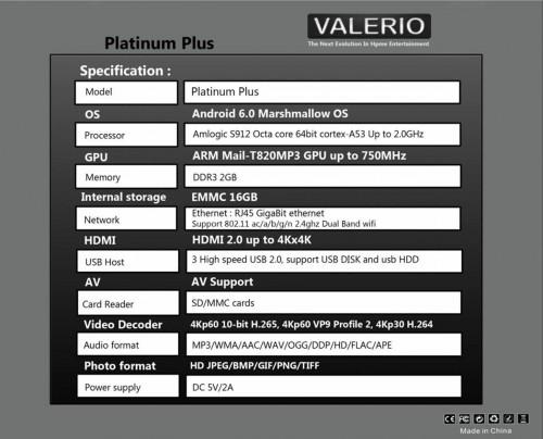VALERIO PLATINUM 7RX MEDIA PLAYER